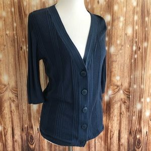 Mossimo Blue Ribbed V Neck Button Up Cardigan